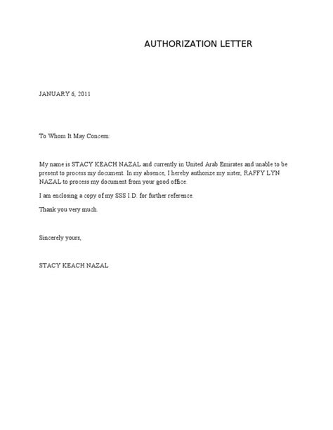 authorization letter   word