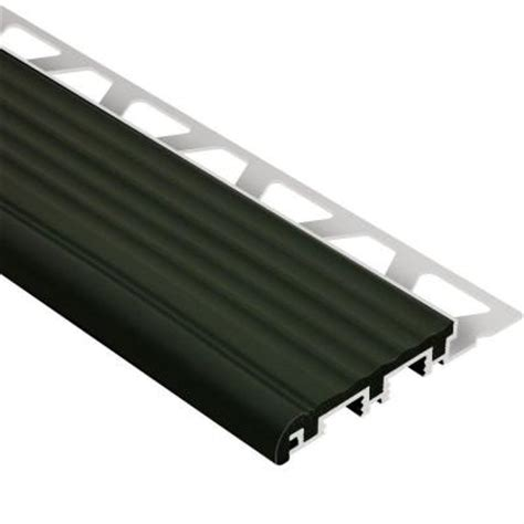 stair edging home depot schluter trep b aluminum with black insert 5 16 in x 8 ft 2 1 2 in metal stair nose tile