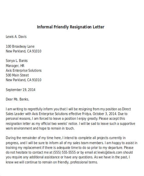 sample informal resignation letter  examples   word