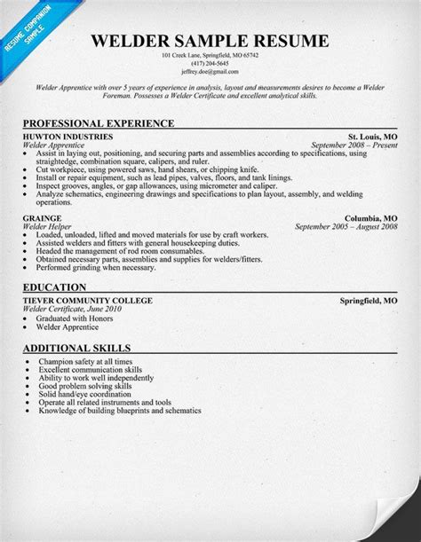 Welder Resume Sle by Welder Resume Sle Welding