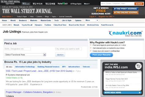 Premium Resumes In Naukri by Naukri To Power Premium Listings On Wsj India Medianama