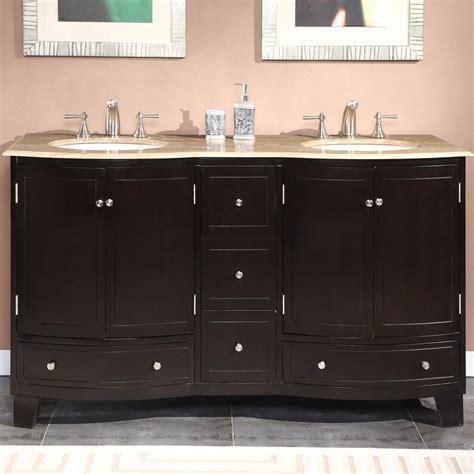 double sink cabinet travertine top  mount