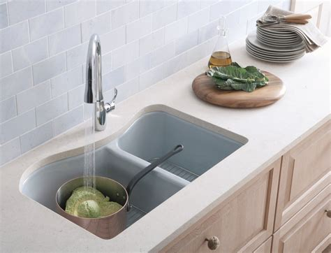 Kitchen Sinks : Kohler K-5841-4u-96 Lawnfield Undercounter Offset Double