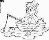 Fishing Coloring Rowboat Recreational Pages Fish Fisherman Game Oncoloring sketch template