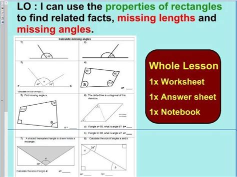 properties of rectangles or quadrilaterals missing lengths