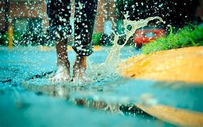 Water Wallpapers Splash Puddle Barefoot Legs Splashes