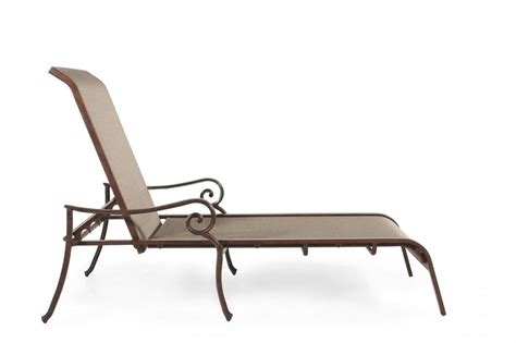 chaise alu roll arm aluminum sling chaise lounge in brown mathis brothers furniture