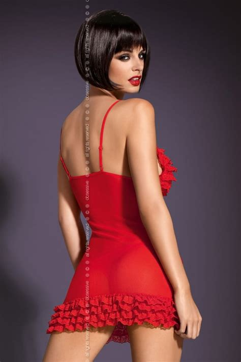 Madame Red Frills Chemise Set Womens Sexy Valentines