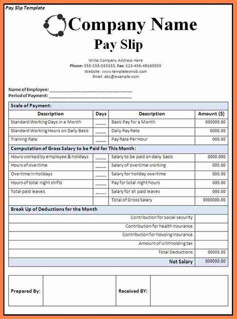 canadian payslip template salary slip