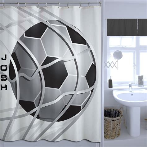 basketball shower curtain black and white soccer shower curtain fabric sports