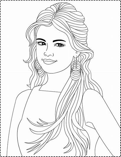 Coloring Pages Selena Gomez Pretty Drawing Colouring
