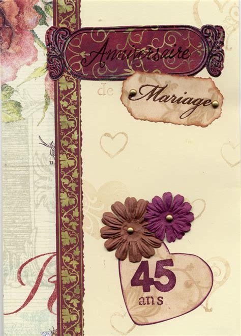 anniversaire de mariage 45 ans carte carte 45 ans de mariage les cr 233 ations d ithylia