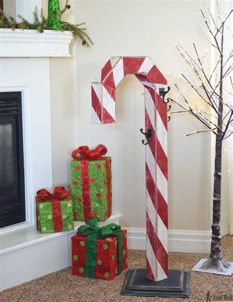candy cane holiday stocking post christmas wood