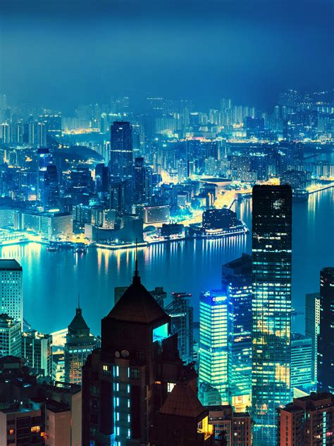 wallpaper hong kong nightscape cityscape skyline hd