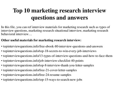 Marketing Analyst Questions by Top 10 Marketing Research Questions And Answers