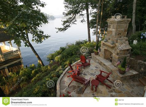 Outdoor Fireplace Modern by Outdoor Fireplace And Patio Royalty Free Stock Images