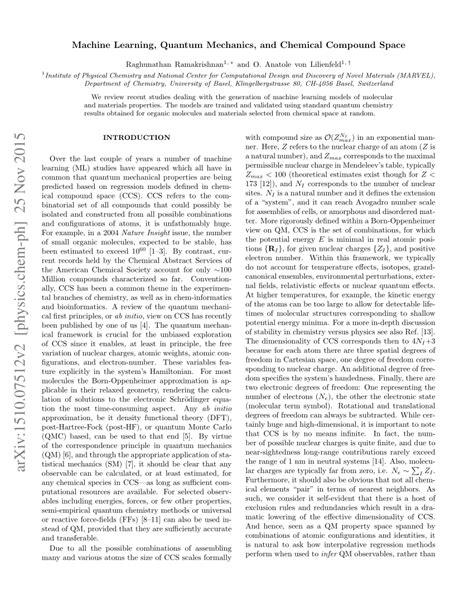 (PDF) Machine Learning, Quantum Mechanics, and Chemical