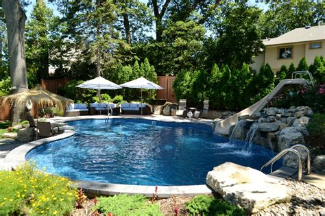 Backyard Pool - steep terrain creating a backyard escape that wows