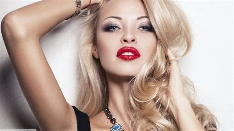 Blonde Blue Eyes Women Model Face Long Hair