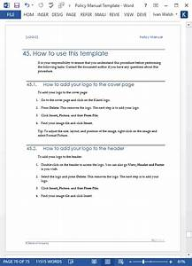 Download Table Of Contents Template Policy Manual Template Ms Word Excel Templates Forms