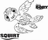 Squirt Coloring Dory Finding Disney Movies sketch template