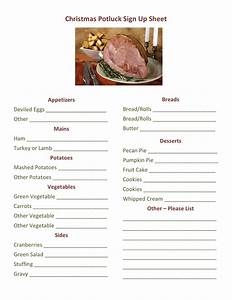 Potluck Dinner Sign Up Sheet Printable Loving Printable