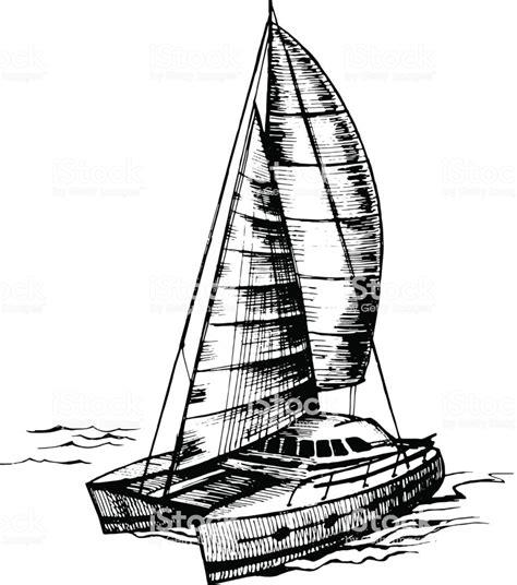 Catamaran Drawing catamaran sailboat monochrome vector stock vector art