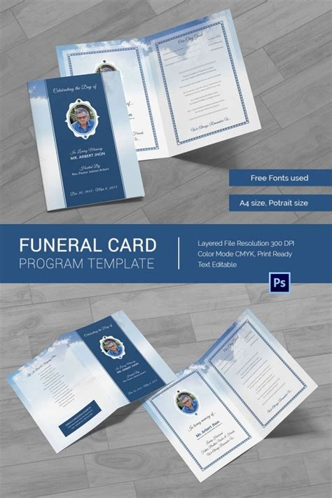 obituary card templates  printable word excel