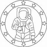 Astronaut Coloring Mission Emblem Preschoolers Preschool Worksheets Apollo Colornimbus sketch template
