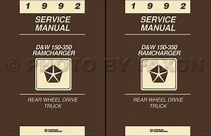 1992 Dodge Pickup Truck Ramcharger Repair Shop Manual Gas