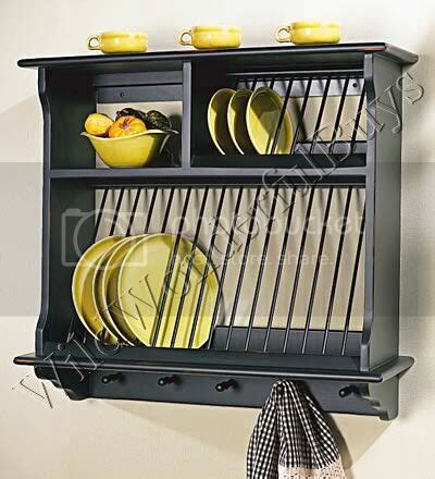 french country wood wall mount plate rack stand black ebay