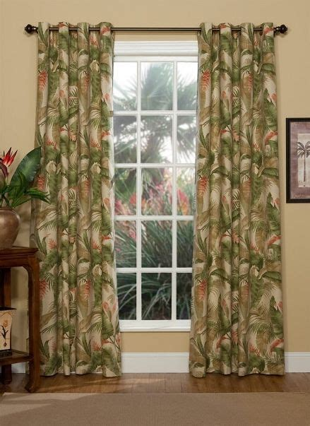 Hawaiian Curtains Drapes - tranquil green ivory paprika tropical plant lined antique