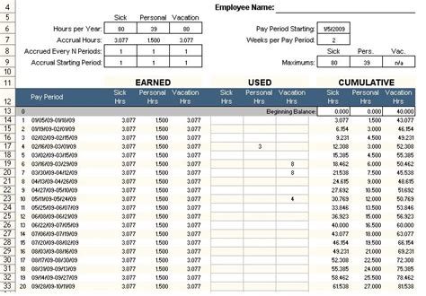 employee pto tracker excel template  timesheet