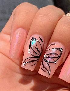 beautiful butterfly coffin nails designs for