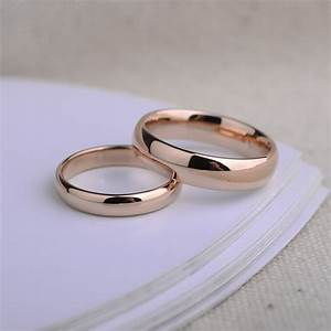 engravable tungsten wedding bands domed rose gold gold With gold matching wedding rings