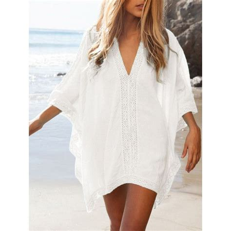 White Swimsuit Cover Up by White Oversize V Neck Poncho Beach Cover Up 27 Liked On