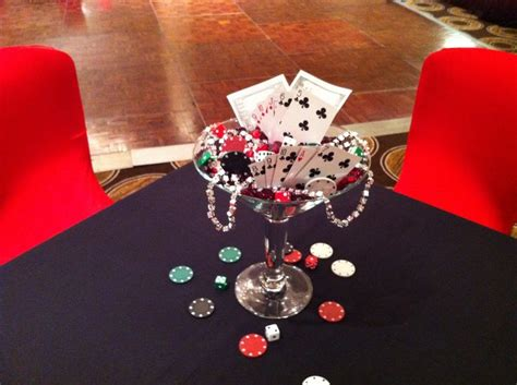 martini glass centerpiece  casino theme party casino