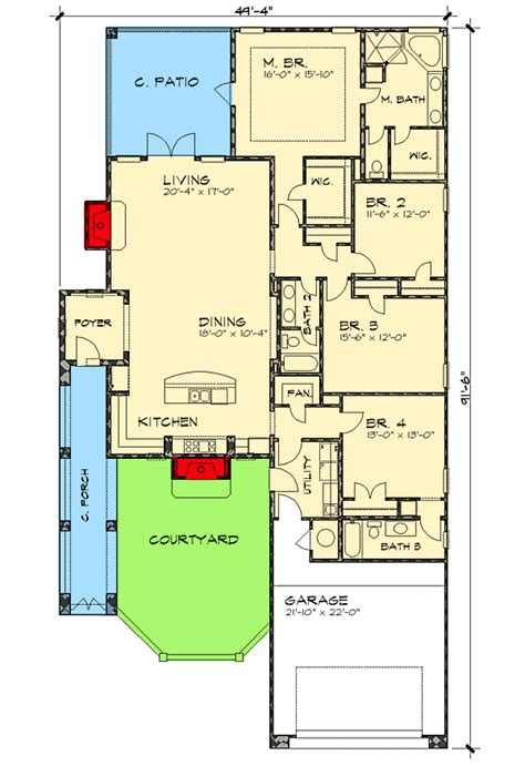 house plan for narrow lot narrow lot courtyard home plan 36818jg 1st floor