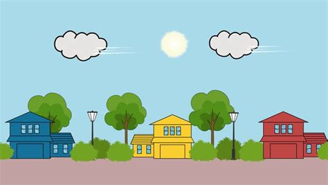 An Fun Animated Setting With A House On A Hill On A Sunny