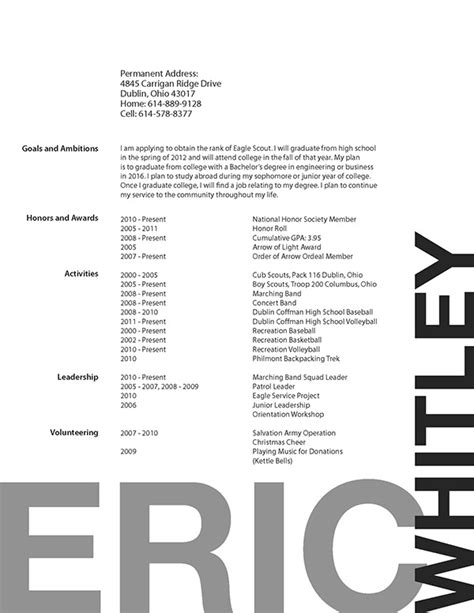 resume questionnaire form eagle scout resume on behance
