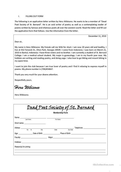 filling  form worksheet  esl printable worksheets