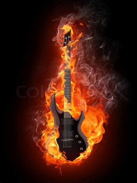 gitarre  feuer auf schwarzem stockfoto colourbox