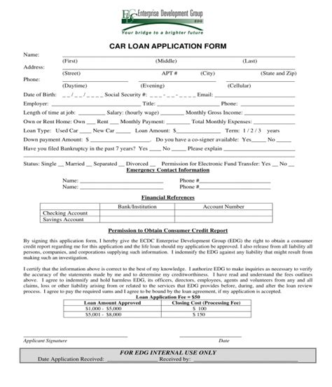 3+ Car Loan Application Forms