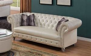 Josephine, Glam, Crystal, Tufted, Chesterfield, Sofa, In, Beige, Bonded, Leather