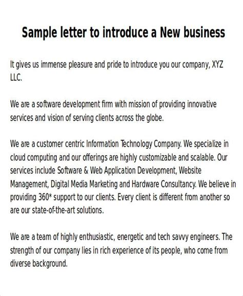 Letter Exles For Interest by Sle New Business Letters 6 Exles In Word Pdf Format