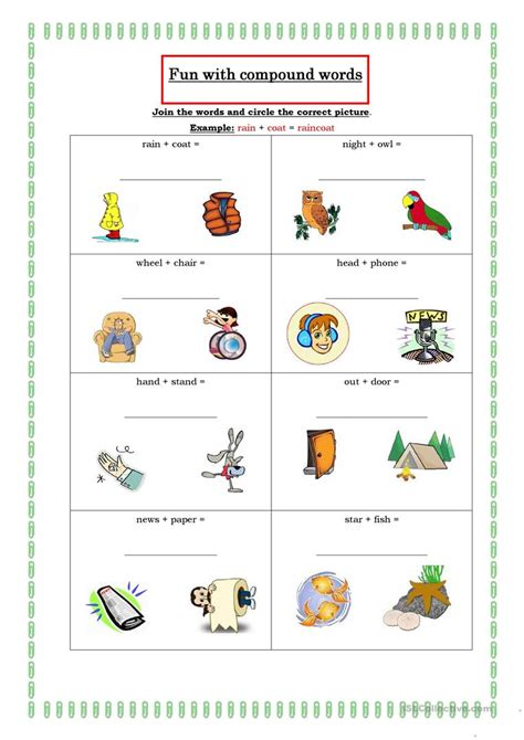 Use these free worksheets to learn letters, sounds, words, reading, writing, numbers, colors, shapes and other preschool and kindergarten skills. Fun with compound words worksheet - Free ESL printable ...