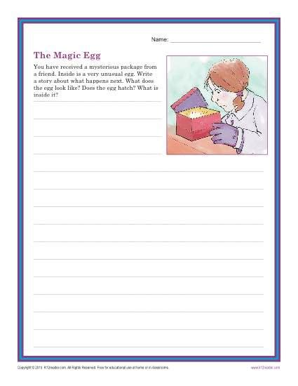 the magic egg creative writing prompt for 3rd and 4th grade