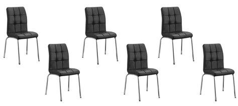 lot 6 chaises noires lot de 6 chaises capitonnées noires en simili cuir
