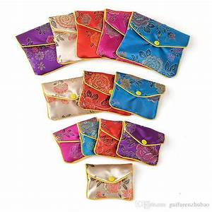 Designer Pencil Pouch Cheap Small Zipper Silk Fabric Jewelry Pouch Chinese