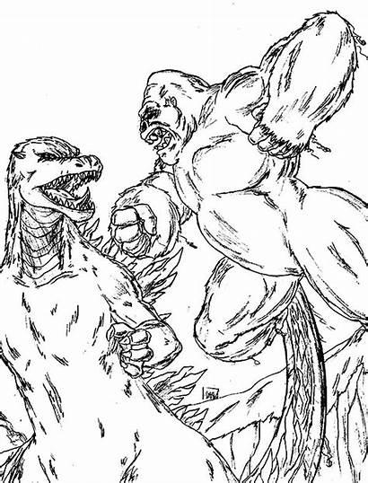 Kong Godzilla Coloring King Vs Colorear Monsters